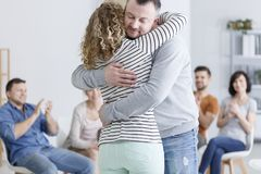 Man and woman hugging Royalty Free Stock Images