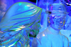 Man woman. Ice sculptures of a woman and man taken during a Ice Sculpture Festival in Hasselt, Belgium Stock Photo