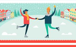 Man and Woman Ice-skating Vector Illustration. Man and woman ice-skating outdoors, snowflakes falling on buildings roofs and evergreen trees, nature filled with Stock Images