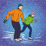 Man and woman ice skating. Vector illustration in pop art retro style. Winter sports vacation concept. Couple spend time together on ice skate rink Stock Photography