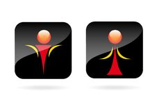 Man and Woman icon. Man and Woman icon over black background.Vector Stock Photos