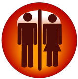 Man and woman icon. Red stick figure man and woman or couple on round button or icon Stock Image