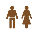 Man and woman icon brown. Man and woman icon Isolated On a White Background Stock Photos