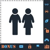 Man and Woman icon flat stock illustration