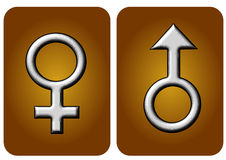 Man woman icon gold bronze colour. Glossy effect Stock Photography