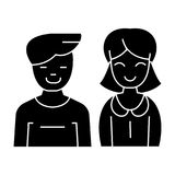 Man and woman -  icon, vector illustration, black sign on isolated background Stock Images