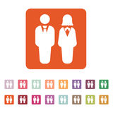 The man and woman icon. Partners And Human symbol. Flat Royalty Free Stock Image