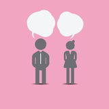 Man and woman icon on pink background. Vintage color tone style Royalty Free Stock Images
