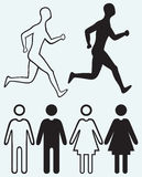 Man and woman icon. Running man Stock Photography