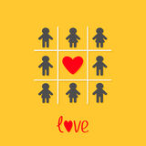 Man Woman icon Tic tac toe game. Red heart sign Love Yellow background Flat design Royalty Free Stock Photo