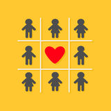 Man Woman icon Tic tac toe game. Red heart sign Yellow background Flat design Royalty Free Stock Photos