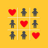 Man Woman icon Tic tac toe game. Three red big heart sign Yellow background Flat design Stock Photography