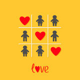 Man Woman icon Tic tac toe game. Three red heart sign Love Yellow background Flat design Stock Images