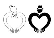 Man and Woman Icon Vector heart shaped Royalty Free Stock Photography