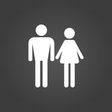 Man and woman icon in white on a black background Royalty Free Stock Photo