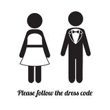 Man and Woman Icons. Black Tie Dress Code Icon. Icons illustration of man and woman representing black tie dress code Stock Image