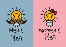 Man and woman ideas creative fun color icons. Royalty Free Stock Photography