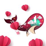 Man and woman illustration. Love paper landscape. Vector eps 10 Stock Image
