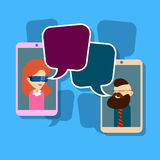 Man Woman Image Cell Smart Phone Social Network Communication Concept With Chat Bubble Stock Photos