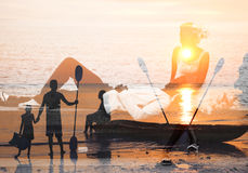 Man and woman imagination background. royalty free stock photography
