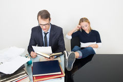 Man and woman are incompatible. business office Stock Photos