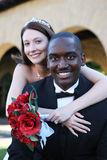 Man and Woman Interracial Wedding stock image