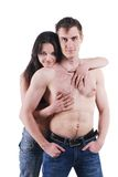 Man and woman in jeans Stock Photos