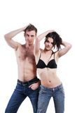 Man and woman in jeans Royalty Free Stock Image