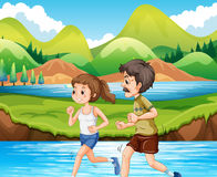 Man and woman jogging in the park. Illustration Royalty Free Stock Photo