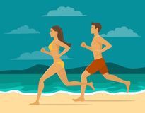 Man and Woman jogging together on the beach. Couple workout at the seaside. Active healthy lifestyle Royalty Free Stock Photography