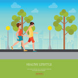 Man and Woman Jogging Together. Man and Woman Jogging Together on city view background, Running Man and Woman Outdoor, Jogging Couple , healthy lifestyle Stock Photography