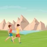 Man and Woman Jogging. Royalty Free Stock Image