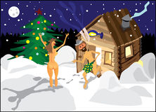 A man and a woman jumping in the snow from the sauna on Christmas night.  Royalty Free Stock Photography