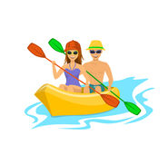 Man and woman kayaking Royalty Free Stock Photos