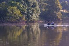 A man and woman kayaking on Speedwell Forge Lake stock photography