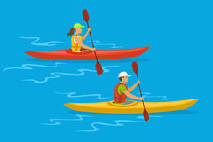 Man and Woman Kayaking Royalty Free Stock Images