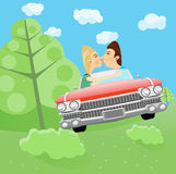 Man and woman kissing in a car Royalty Free Stock Photography