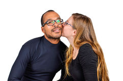 Man and a Woman Kissing. Are in Love Royalty Free Stock Photography