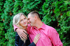 Man and woman kissing in the park Royalty Free Stock Images