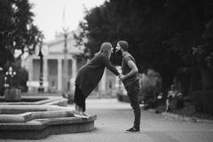 Man and woman are kissing on the street Royalty Free Stock Photos
