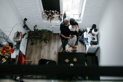 Man and woman in the kitchen stock images