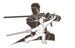 Man and woman Kung Fu fighter, Martial arts with weapons action cartoon. Graphic vector vector illustration