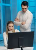 Man and woman in laboratory Stock Photo