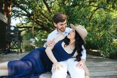 Man and woman at the lake Stock Photo