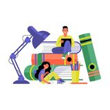 Man and woman with laptops. Online training and freelancing concept. Vector illustration. stock illustration