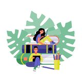 Man and woman with laptops. Online training and freelancing concept. Vector illustration. royalty free illustration