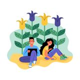 A man and a woman with laptops surrounded by flowers. Vector illustration. stock illustration