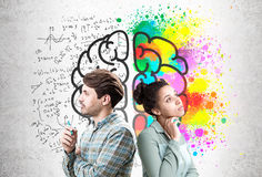 Man and woman with large brain sketch Stock Photo