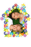 Man and woman lie on grass. Man and woman lie on green grass Stock Photo