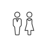 Man and woman line icon, outline vector sign, linear pictogram isolated on white Stock Photo